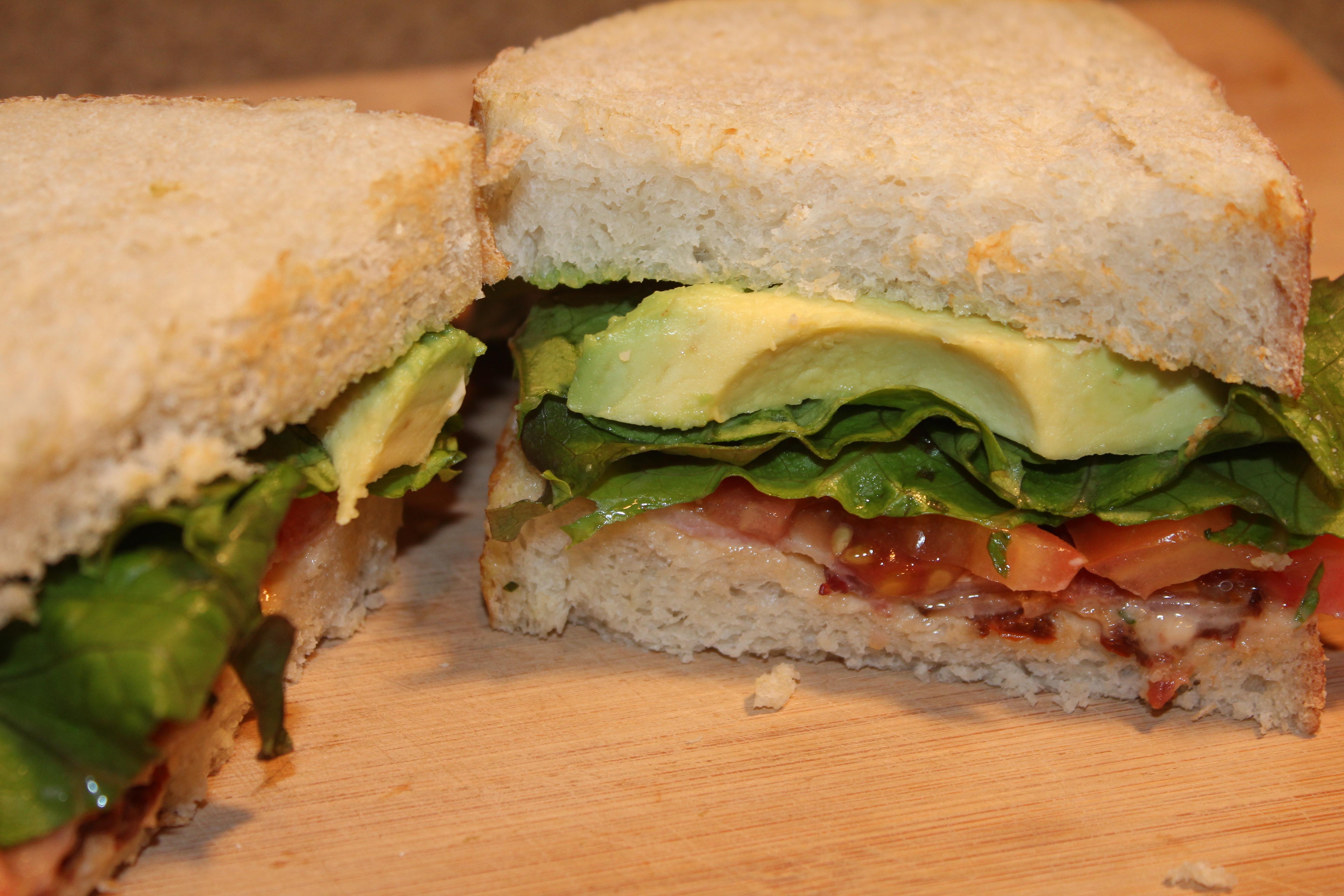 BLT sandwich with avocado