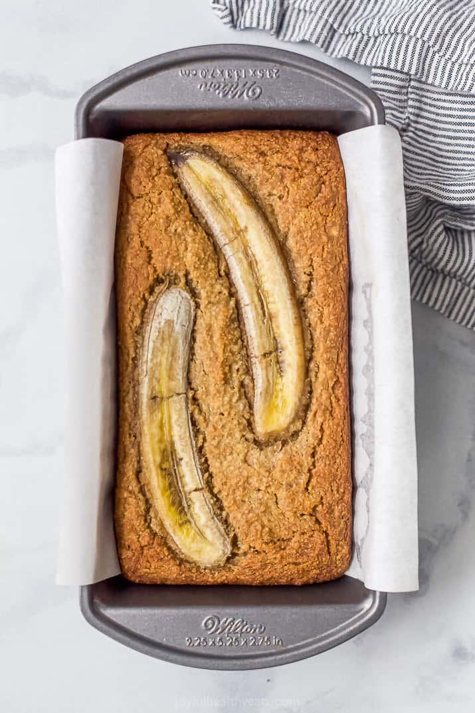 A Pan Full of Freshly Baked Banana Bread