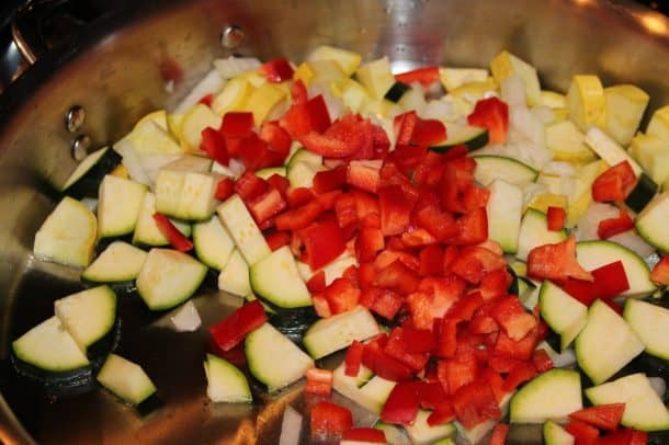 Various Chopped Vegetables Cooking in a Skillet