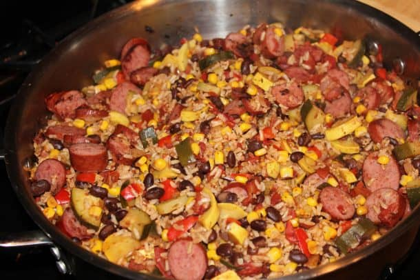 A Turkey Sausage Skillet Dinner Cooking Over the Stove