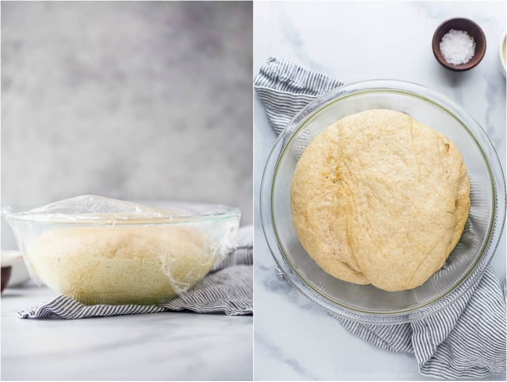 process photos of how to make whole wheat pizza dough