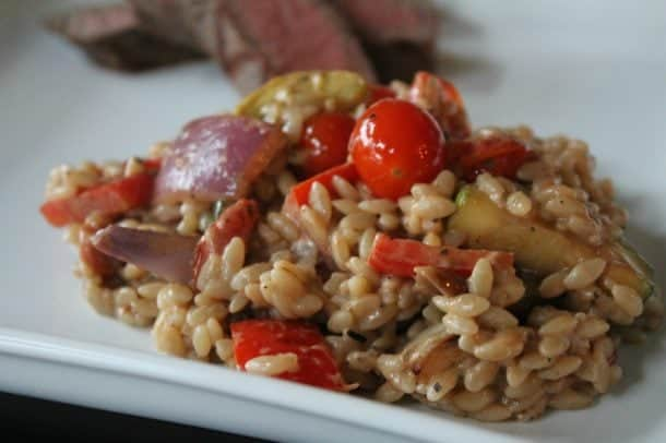 Easy Grilled Vegetable Orzo Salad with Goat Cheese & Balsamic Dressing