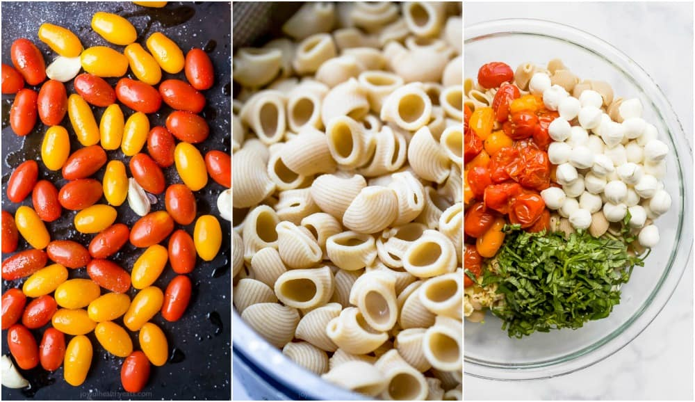 process photos of how to make roasted tomato caprese pasta salad