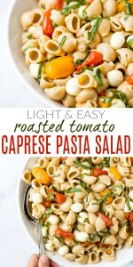 pinterest image for roasted tomato caprese pasta salad recipe