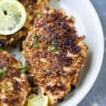 keto pecan crusted chicken recipe on a plate