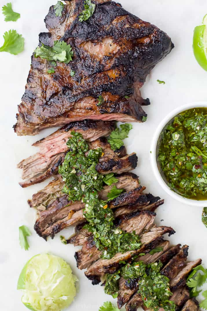 Grilled skirt steak topped with homemade chimichurri sauce