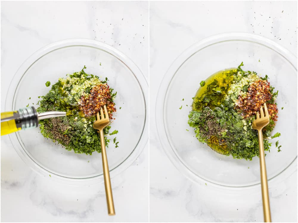 Olive oil being  poured into a bowl with fresh herbs to make chimichurri sauce