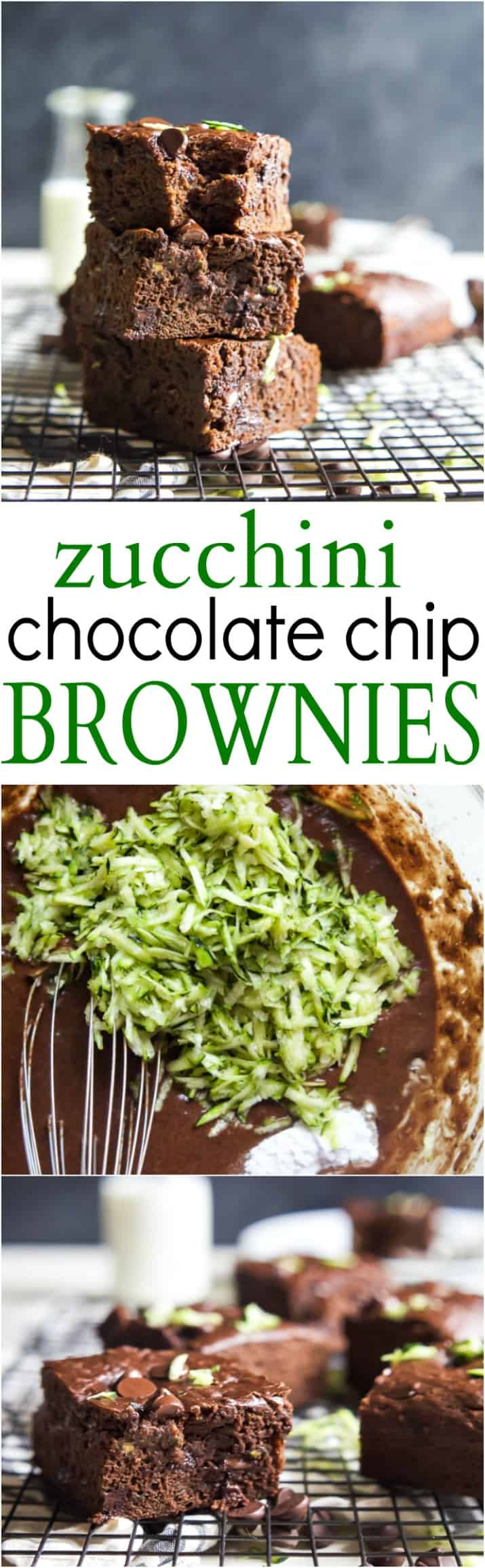 Zucchini Chocolate Chip Brownies that are oil, butter, and egg free AND naturally sweetened! These brownies are extra chocolatey, loaded with zucchini, slightly sweet, and perfectly guilt free - you're gonna love them! | joyfulhealthyeats.com