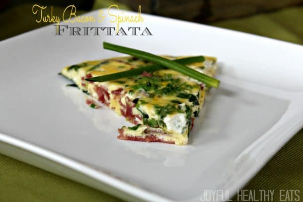 Image of a Turkey Bacon & Spinach Frittata Serving on a Plate