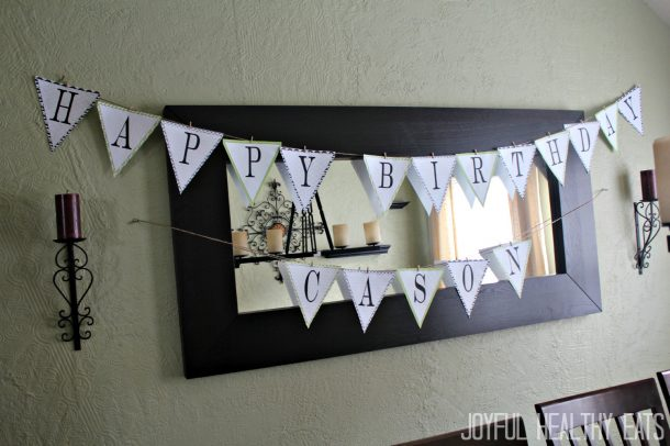 The Birthday Banner I Made and Hung Up in the Living Room for Cason