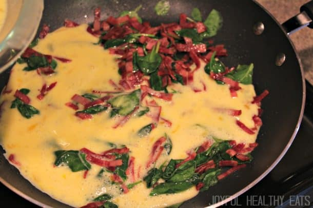 Image of a Turkey Bacon & Spinach Frittata in a Pan (Uncooked)