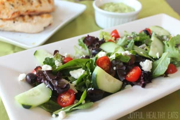 Greek Chicken Salad Recipe with Paleo Avocado Tzatziki Sauce
