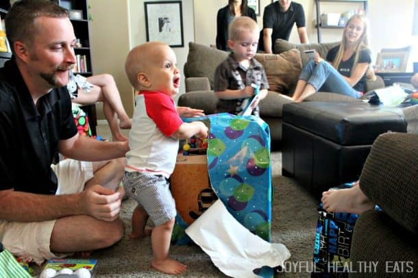 Cason Opening a Big Present on His Birthday