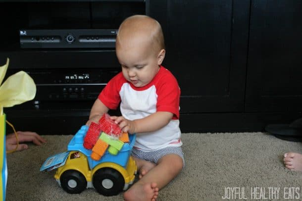 Cason Playing with the New Toy Truck He Got