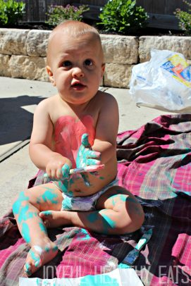 My Son Covered in Blue and Pink Paint