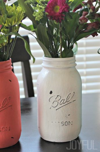 Three Homemade Mason Jar Flower Vases