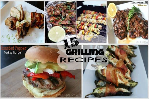 A Collage of Six Grilled Dishes on Plates and Tin Foil