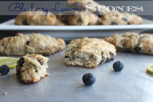 Several Blueberry Lemon scones with recipe title text