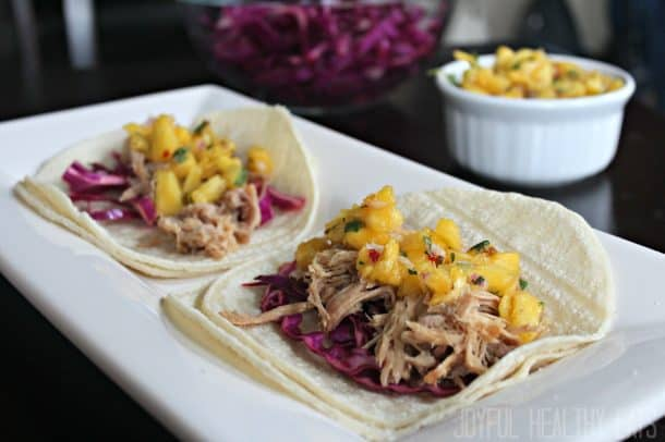 Image of Hawaiian Pork Tacos with Pineapple Salsa on a Plate
