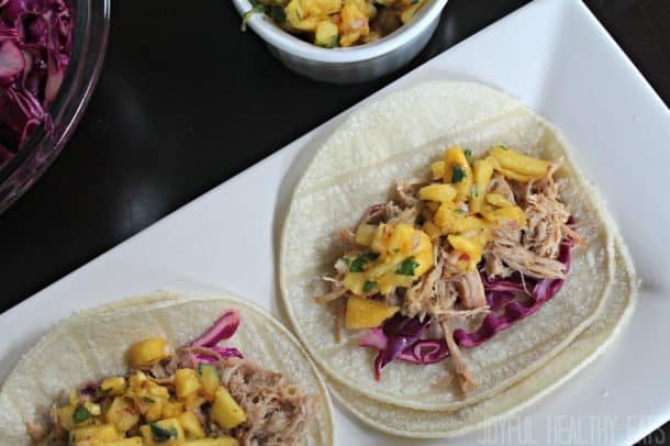 Image of Two Hawaiian Pork Tacos with Pineapple Salsa