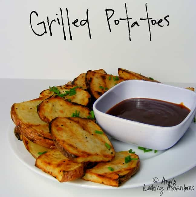 A Plate of Grilled Potatoes with a Small Cup of Ketchup
