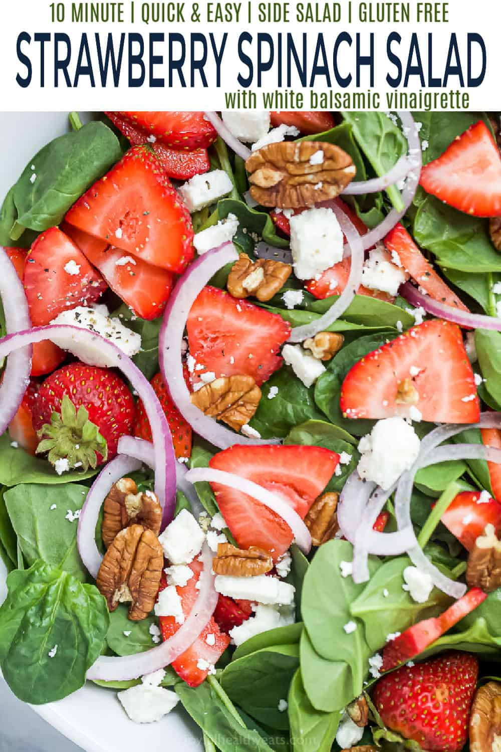 pinterest image for strawberry spinach salad