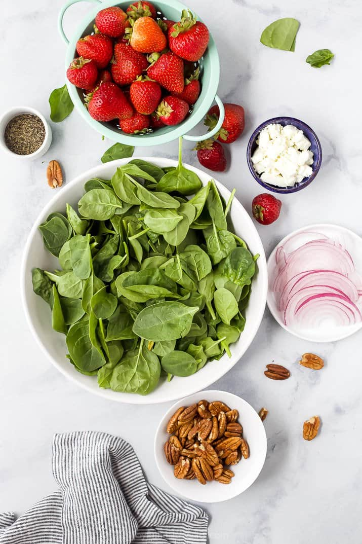 ingredients for strawberry spinach salad