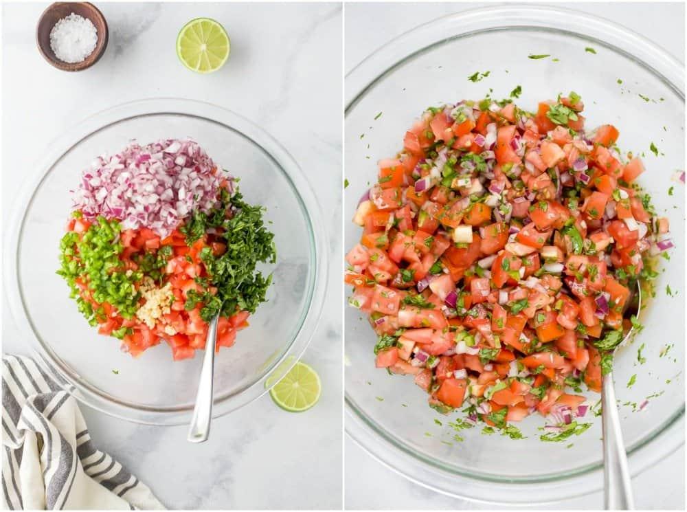 A bowl with fresh pico de gallo ingredients