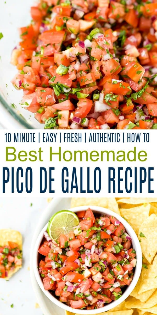 pinterest image for easy homemade pico de gallo recipe