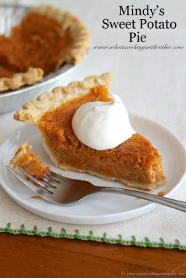 Mindy's Sweet Potato Pie title image with a slice of sweet potato pie with whipped cream on a white plate