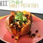 Tex-Mex Stuffed Sweet Potato on a red plate