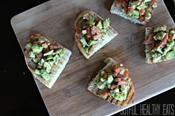 Image of Avocado Crostini From Above