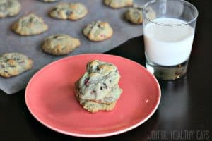 Image of Raspberry Chocolate Chip Cookies with a Glass of Milk