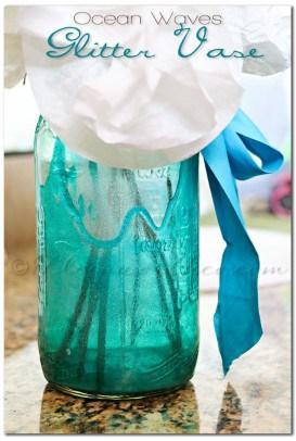 Ocean Waves Glitter Vase
