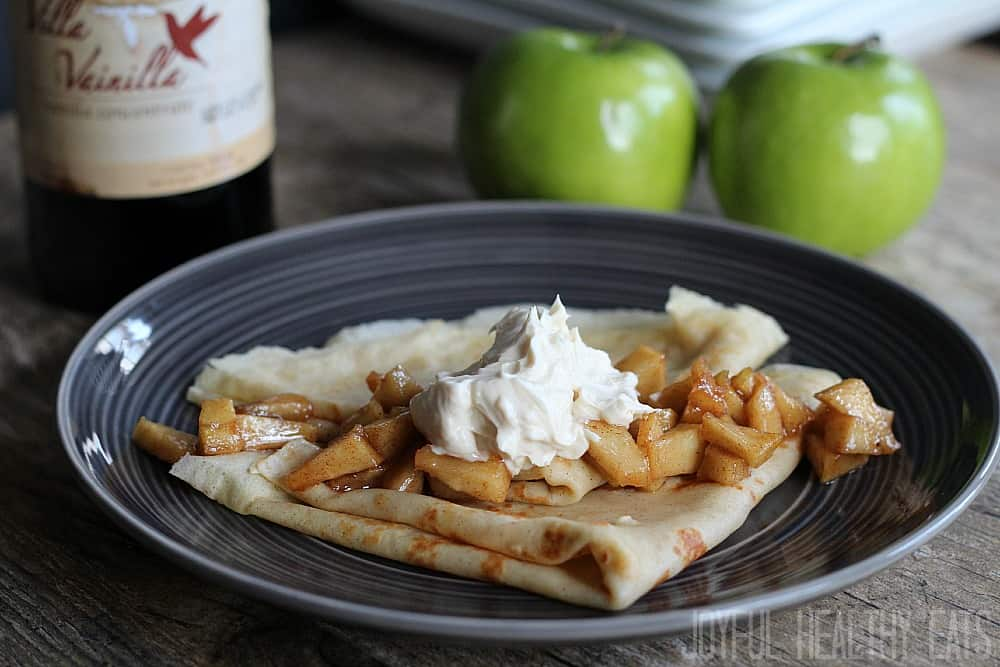 Apple Cinnamon Crepes with Maple Mascarpone Cheese Topping
