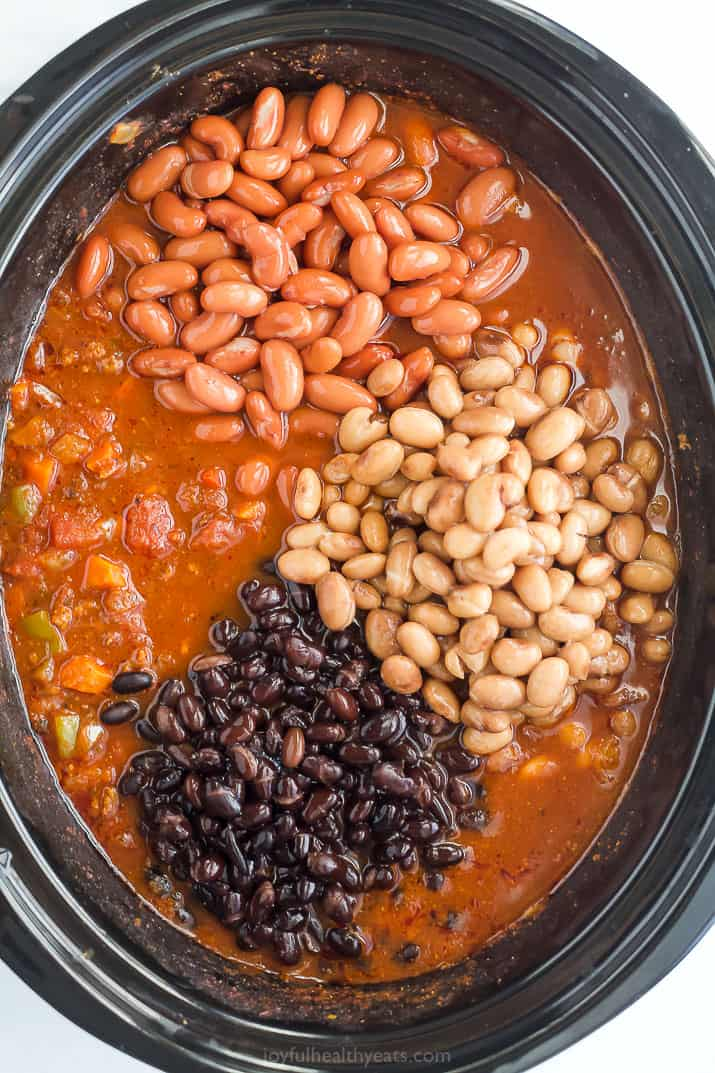 beans in a crock pot of chili