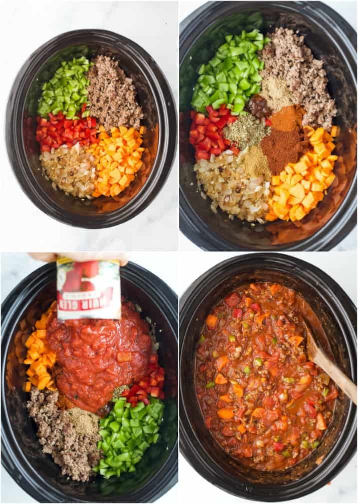 collage of how to make three bean chili