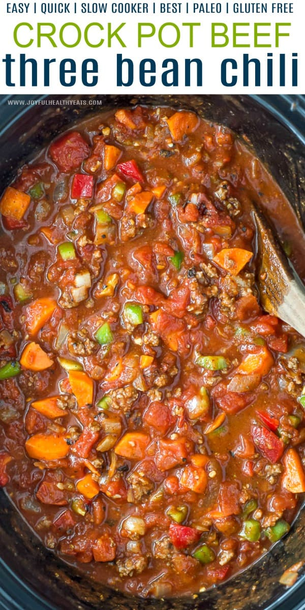 pinterest image for crock pot three bean chili