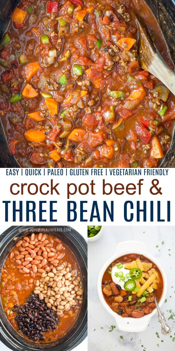 pinterst image for crock pot three bean chili