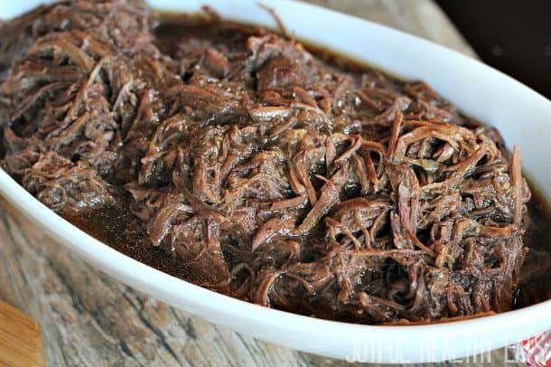 Shredded beef in an oval serving dish