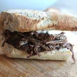 A Slow Cooker Shredded Beef Sandwich.