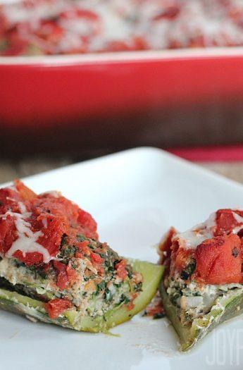 Stuffed Zucchini Boats #zucchini #entree #maindish #stuffedzucchini