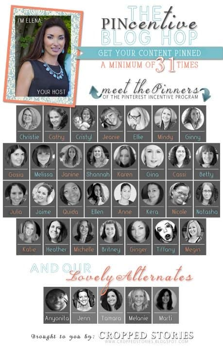Pincentive Blog Hop advertisement with head shots of 30 team members and 5 alternates