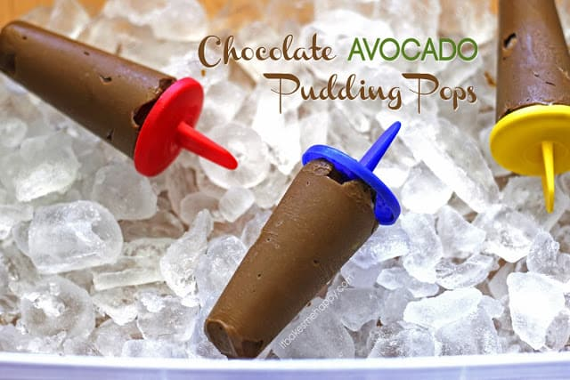Title Image for Chocolate Avocado Pudding Pops and three homemade pudding pops laying on ice