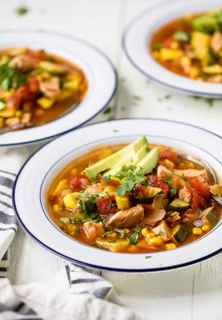 side photo of hearty chicken tortilla soup in a bowl