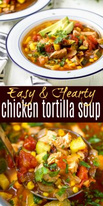 pinterest pin of hearty chicken tortilla soup