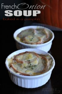 Image of French Onion Soup Baked in a Pumpkin