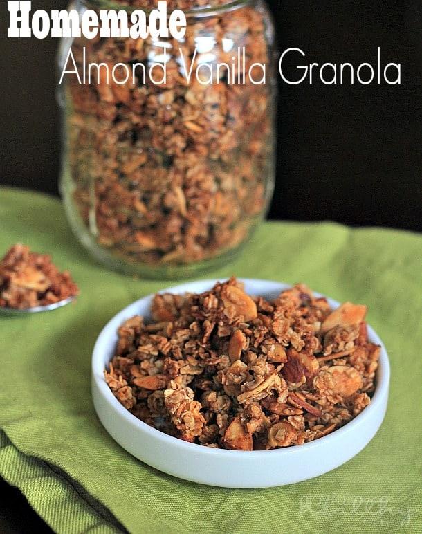 Homemade Almond Vanilla Granola #homemade #granola #breakfast #recipe