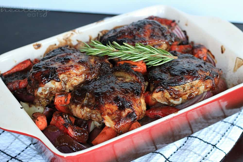 Mustard Balsamic Baked Chicken with Roasted Vegetables #maindish #entree #chickenrecipes