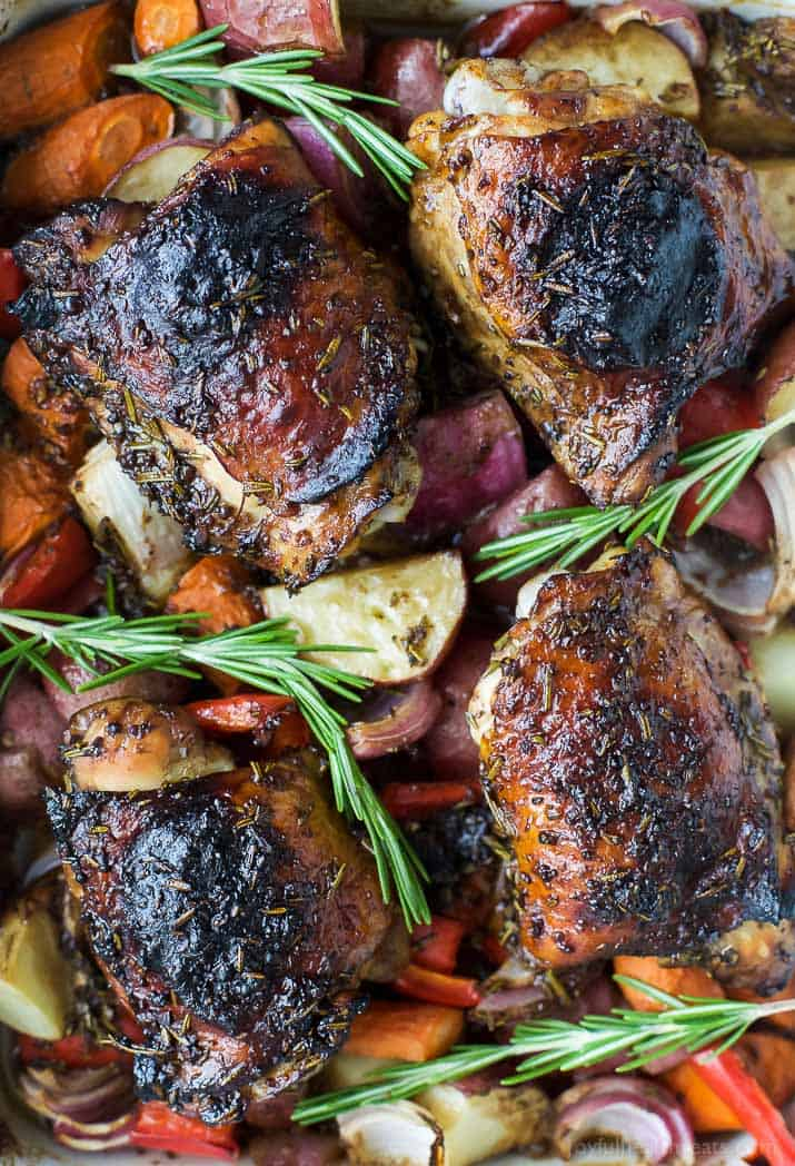 One Pan Balsamic Baked Chicken with Roasted Vegetables